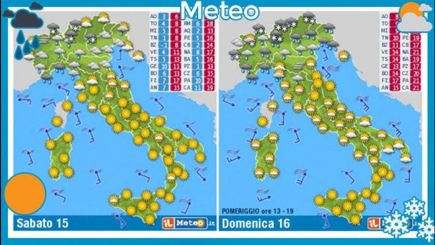 Previsioni meteo del fine settimana 15 e 16 febbraio