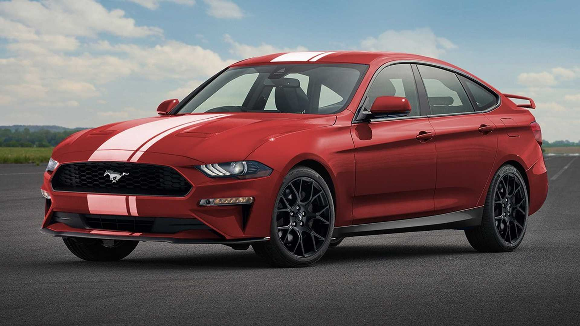 Ford mustang four door rendered sports car for the whole family