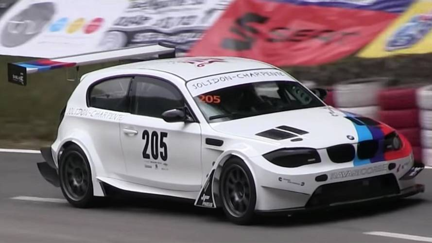 Watch Widebody BMW 1 Series With Massive Wing Conquer A Hill Climb
