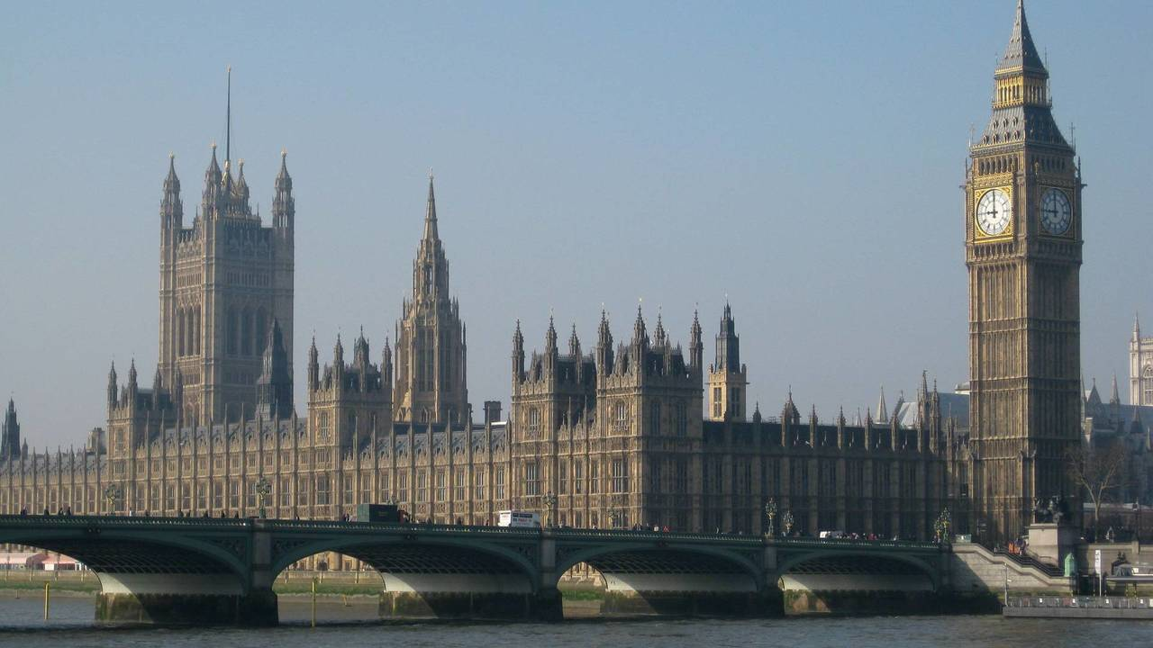 The palace of Westminster, where the Houses of Parliament sit in Westminster