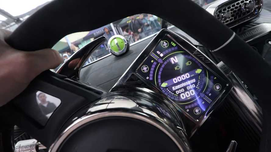 See Koenigsegg Jesko's wheel-mounted gyroscopic speedo in action