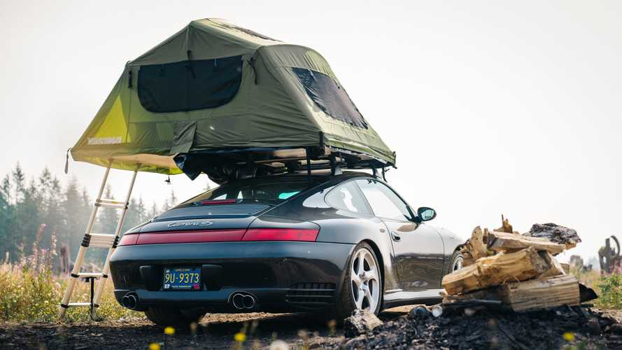 Porsche 911 with roof tent is not your typical camper
