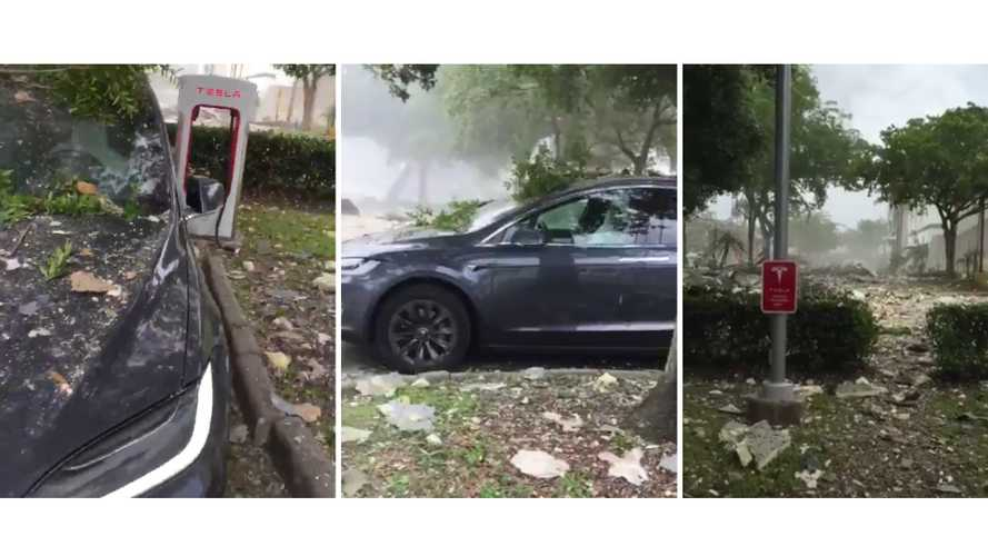 Tesla Supercharger, explosion in Plantation, FL (Source: Victor Oquendo)