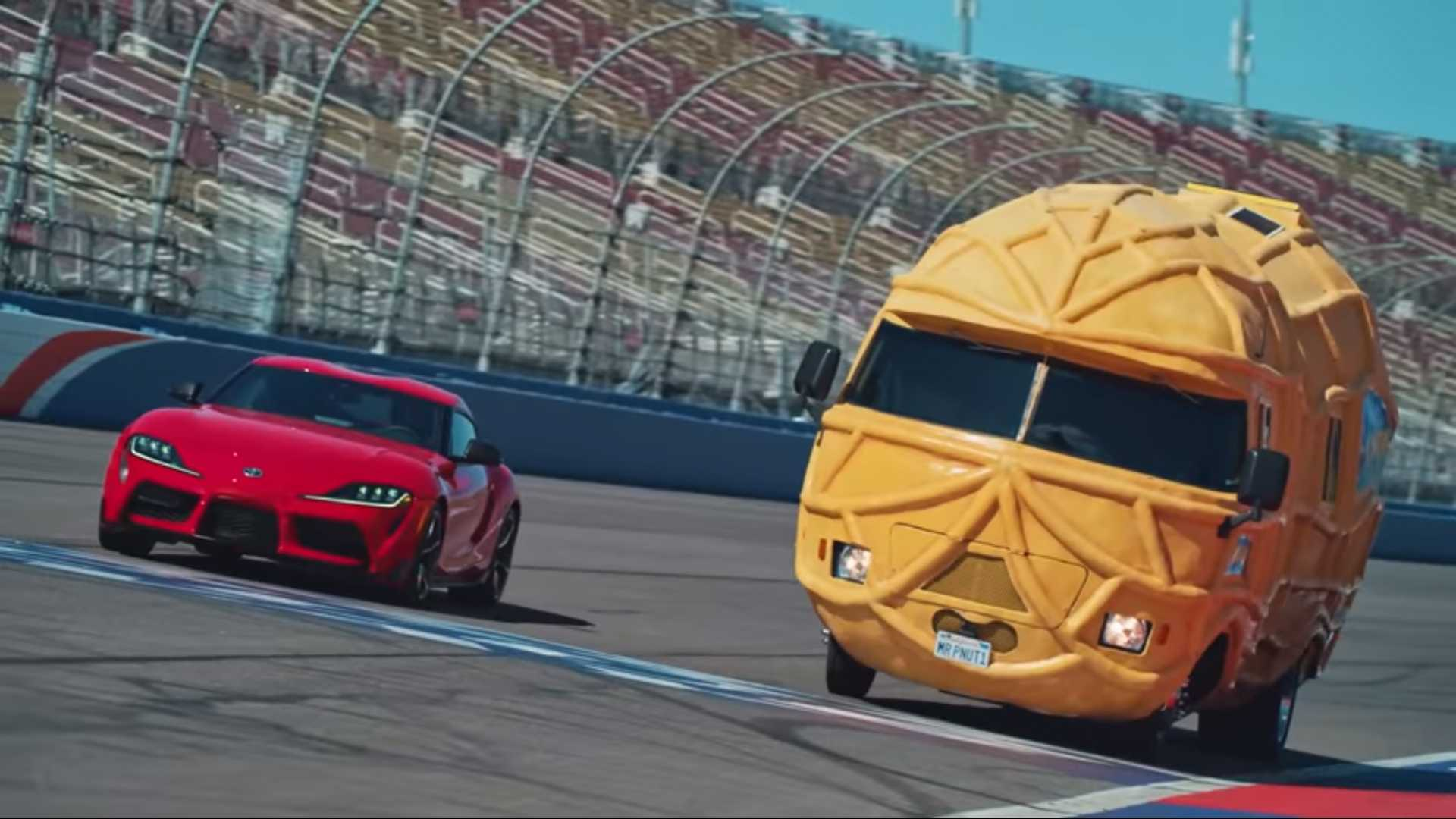 c7950a48be Toyota Supra Takes On Mr. Peanut In Absolutely Nuts Race