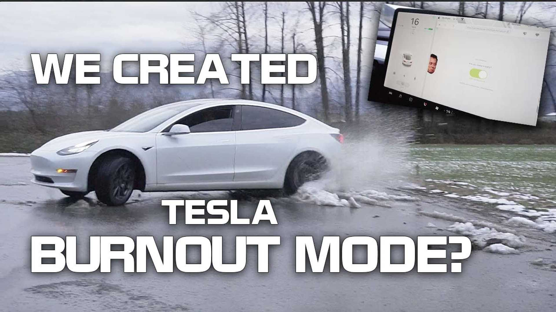 See Burnout, Drift & Reverse Spin Mode In Action In Tesla Model 3