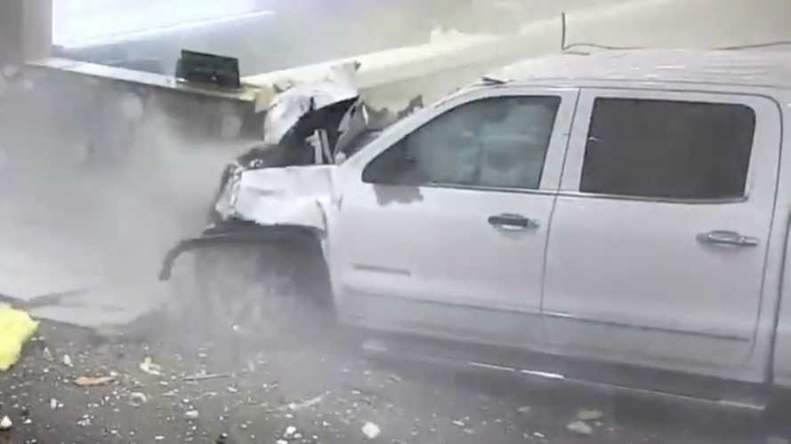 Harrowing video captures truck smashing into airport terminal