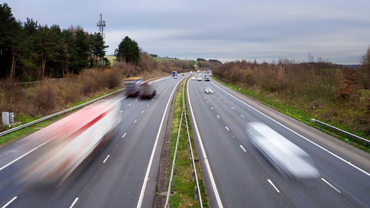 Traffic on the M4 motorway near junction 28 Newport & Cardiff