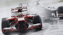 Soaking wet Silverstone during Practice 1 for 2013 British Grand Prix 28.06.2013