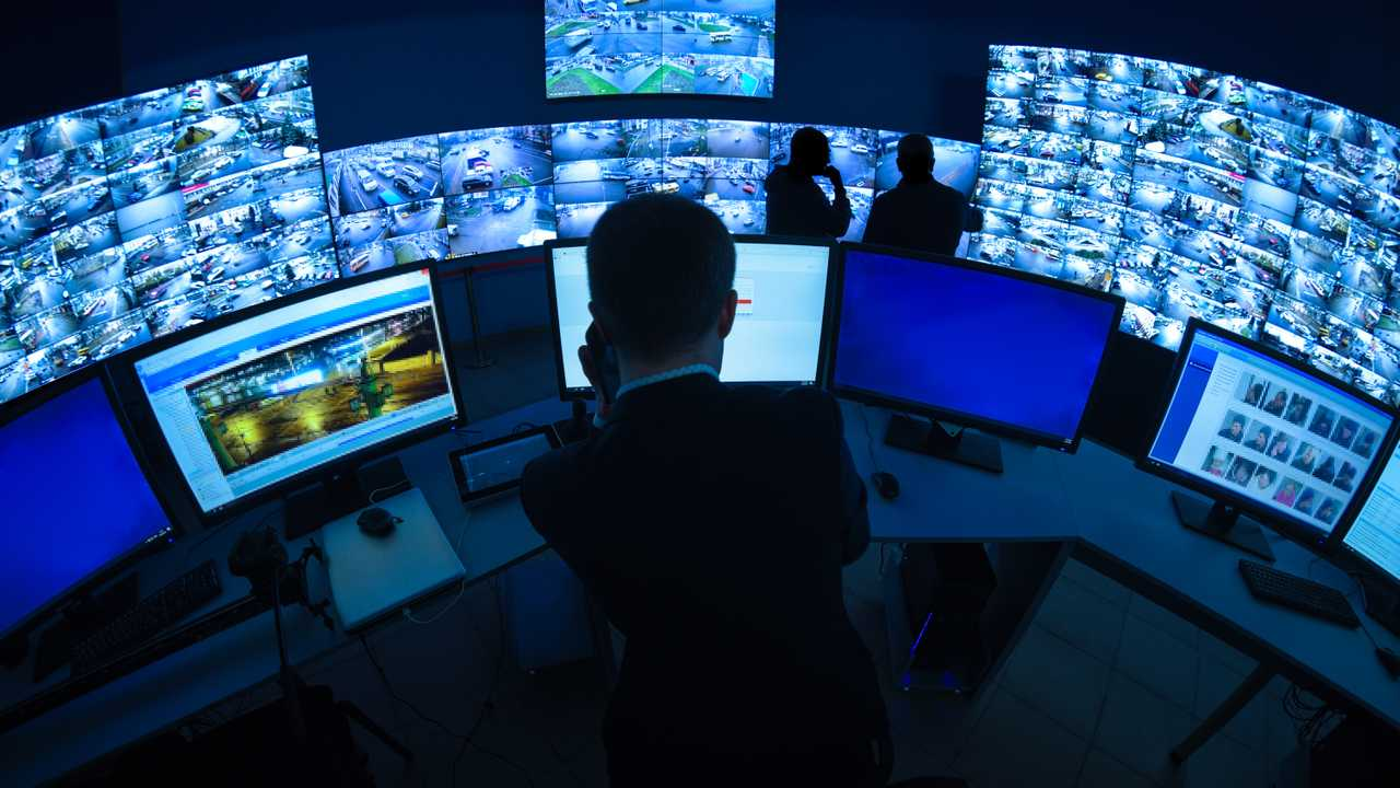 CCTV camera traffic security room