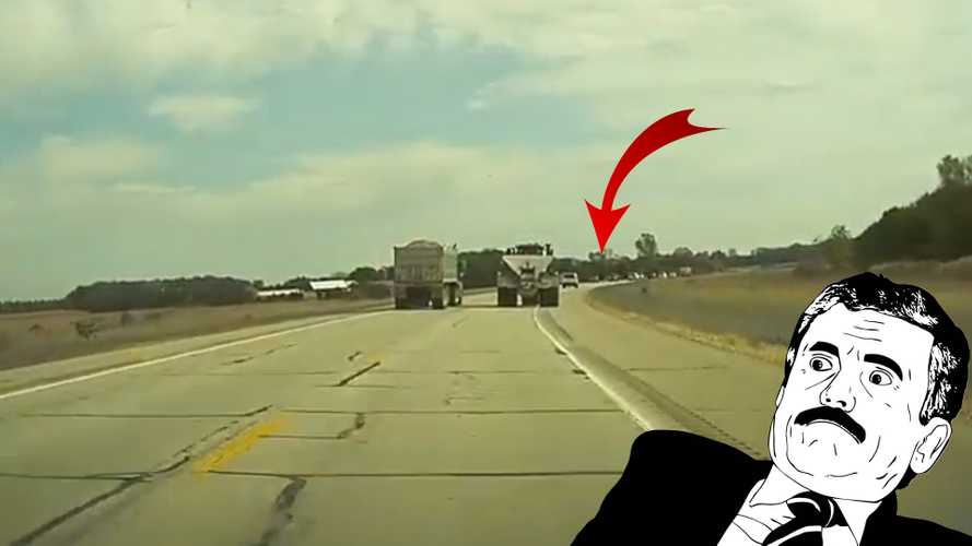 TeslaCam Registers Truck Near-Miss That Could Have Caused A Pile-Up
