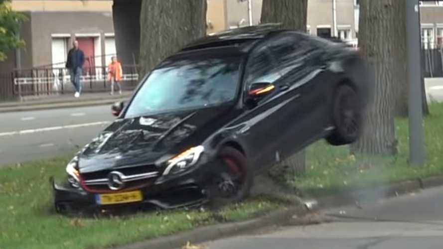 Mercedes-AMG C63 slams into tree after drift attempt goes wrong