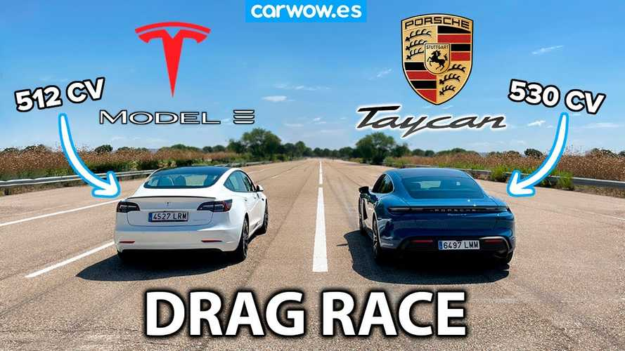 Tesla Model 3 And Porsche Taycan Evenly Matched In This Drag Race