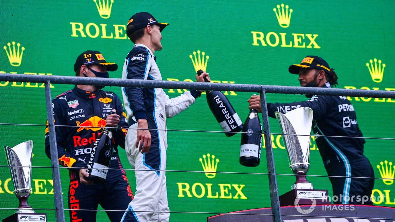 George Russell and Lewis Hamilton on podium at Belgian GP 2021
