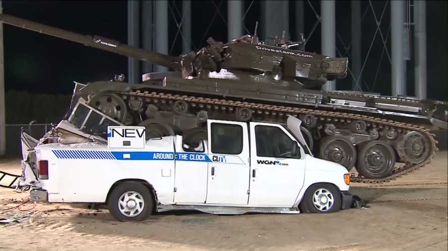 Watch Two News Vans Get Pummeled By One Big Chieftain Tank