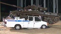 Tank Crushes News Van