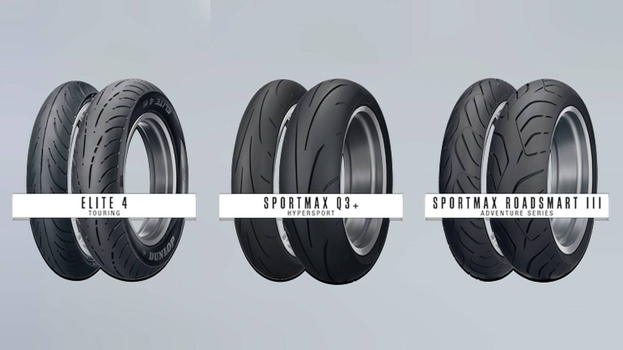 Dunlops Sportmax series Roadsmart III and Q3+, and Elite 4 touring rubber - now available in new sizes.