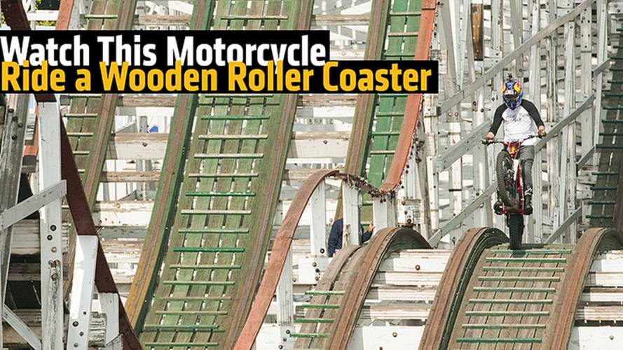 Watch This Motorcycle Ride an Empty, Wooden Roller Coaster