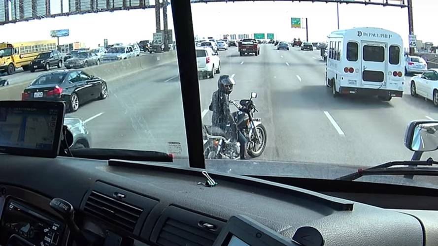 Video: Trucker Uses Rig to Protect Motorcyclist