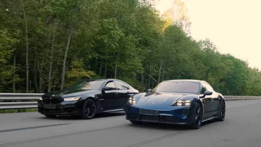 BMW M5 drag races Porsche Taycan Turbo S in ICE vs EV performance duel
