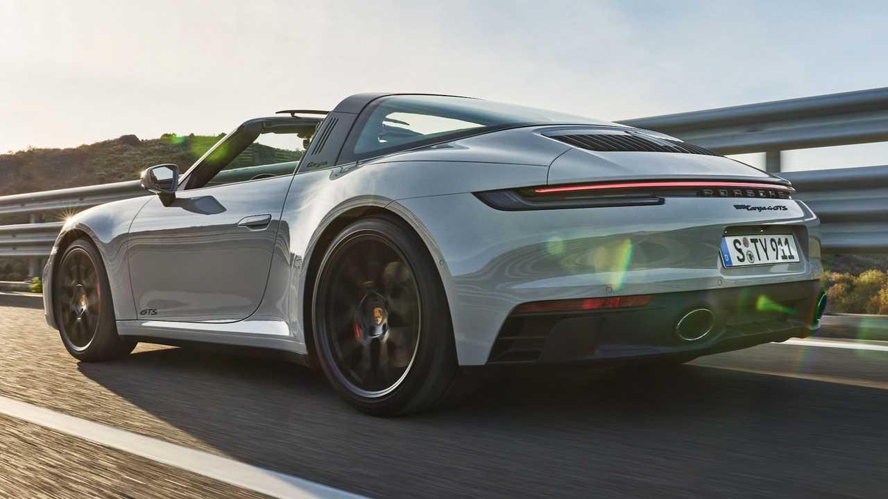 The 2021 Porsche 911 GTS Targa on the road.