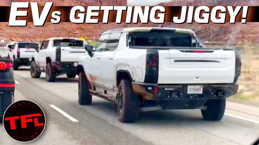 See Four GMC Hummer EVs Crab-Dancing In The Street