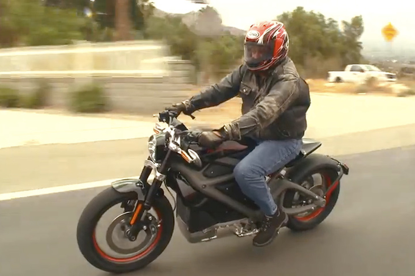 Jay Leno Test Drives Electric Harley Davidson Livewire Video