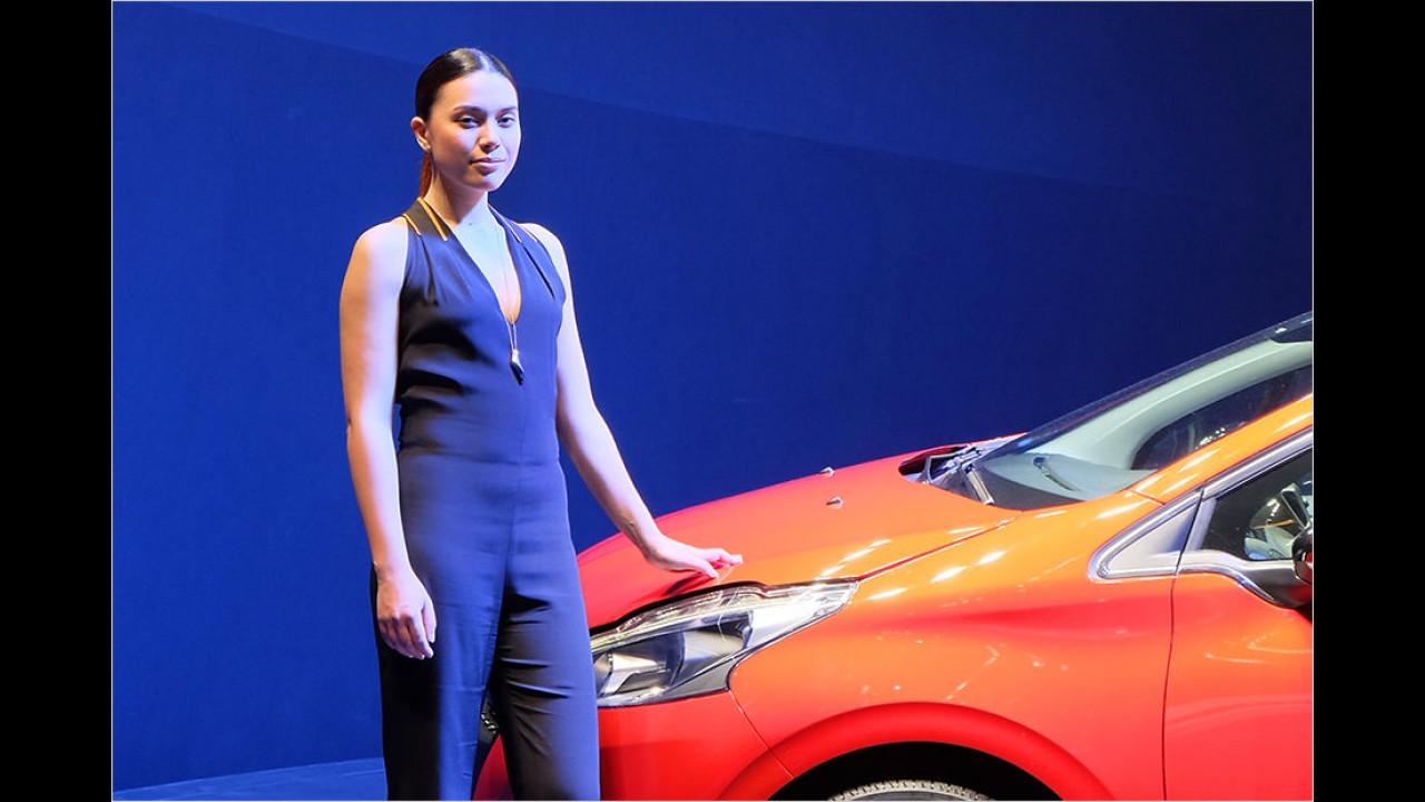 Offensichtlich haben auch die Standbetreiber erkannt, dass rote Autos und blau gewandete Damen die Fotografen anziehen