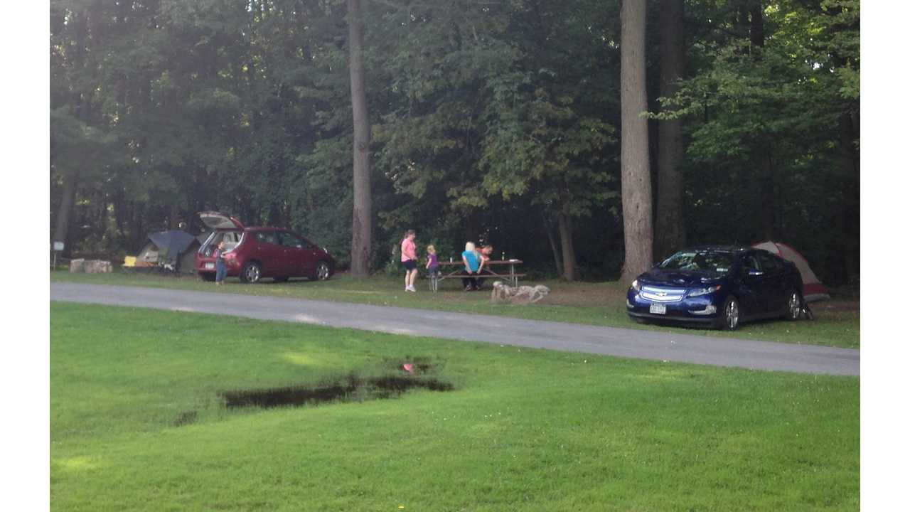 The Volt and LEAF, co-existing peacefully at adjacent campsites at Wellesley Island State Park, New York.