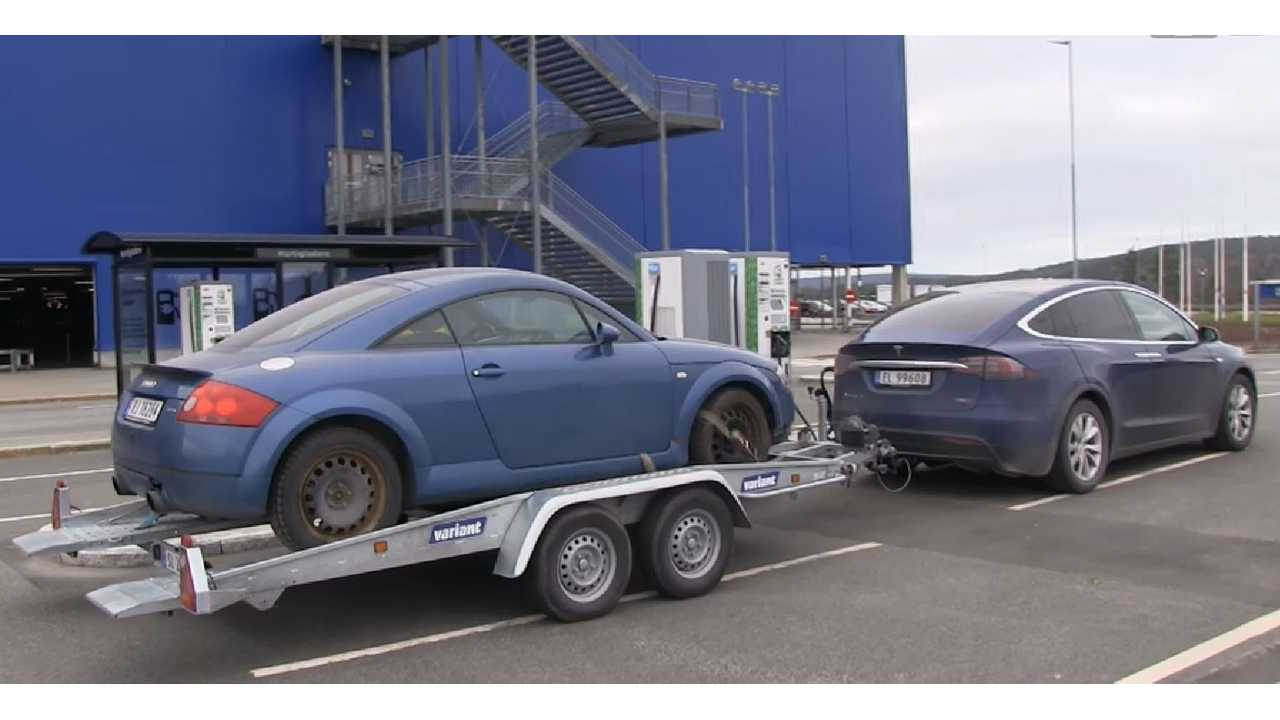 Audi TT Accelerates Quicker Being Towed By Tesla Model X - Video
