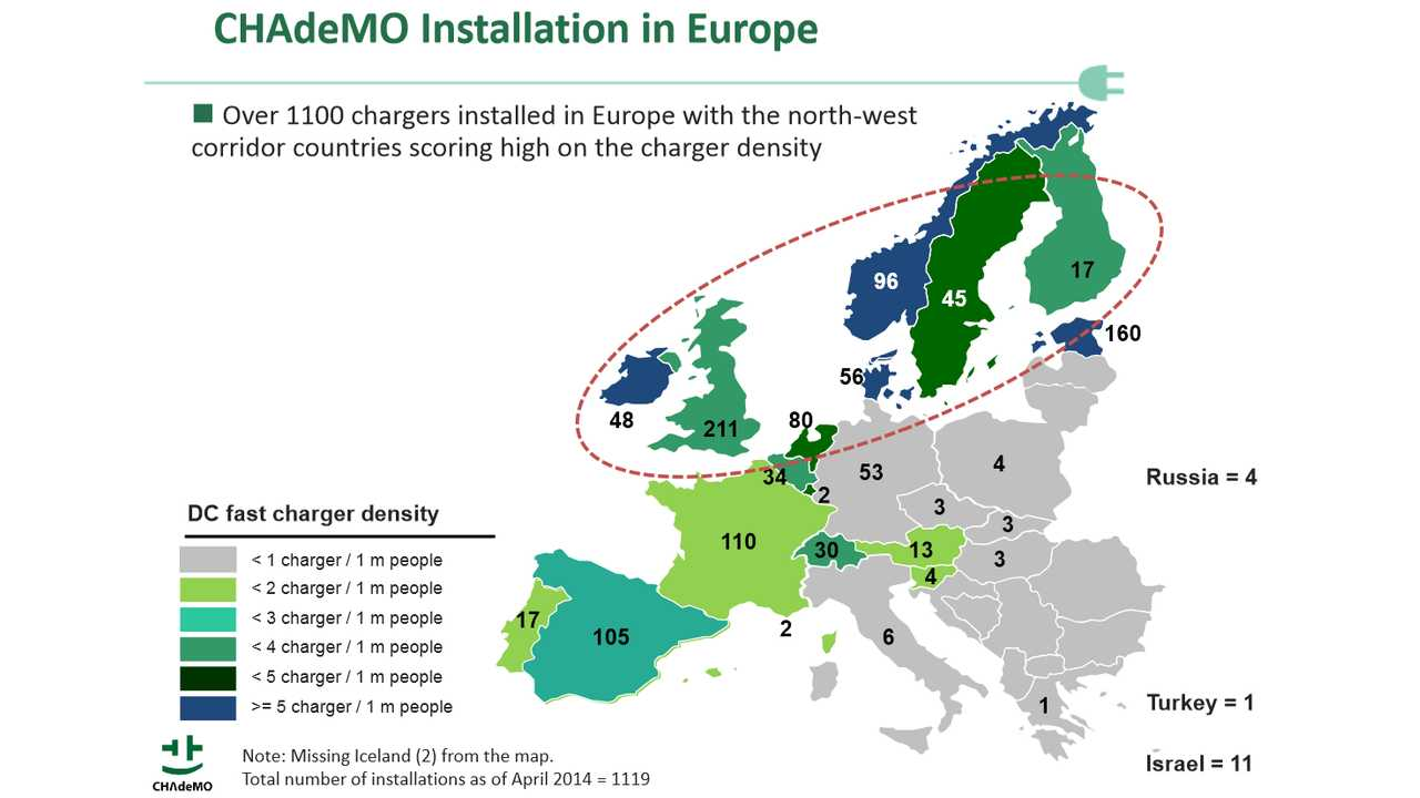 CHAdeMO DC Fast Charger Density in Europe - Map