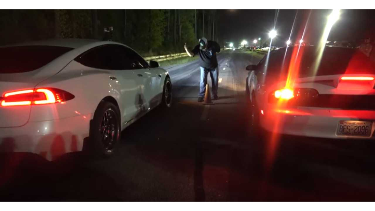 Tempers Ignite After Tesla Model S P100D Smokes Gas Cars In Drag Races - Video