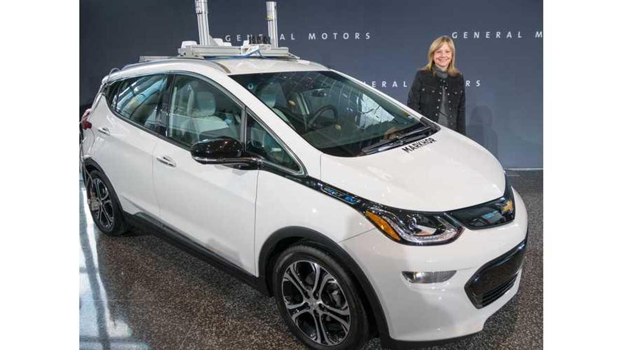 General Motors Chairman and CEO Mary Barra shows autonomous Chevrolet Bolt EV
