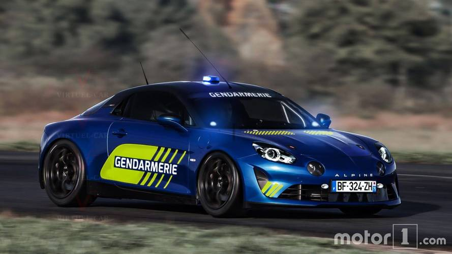 Alpine A110 reimagined as a sporty French police car