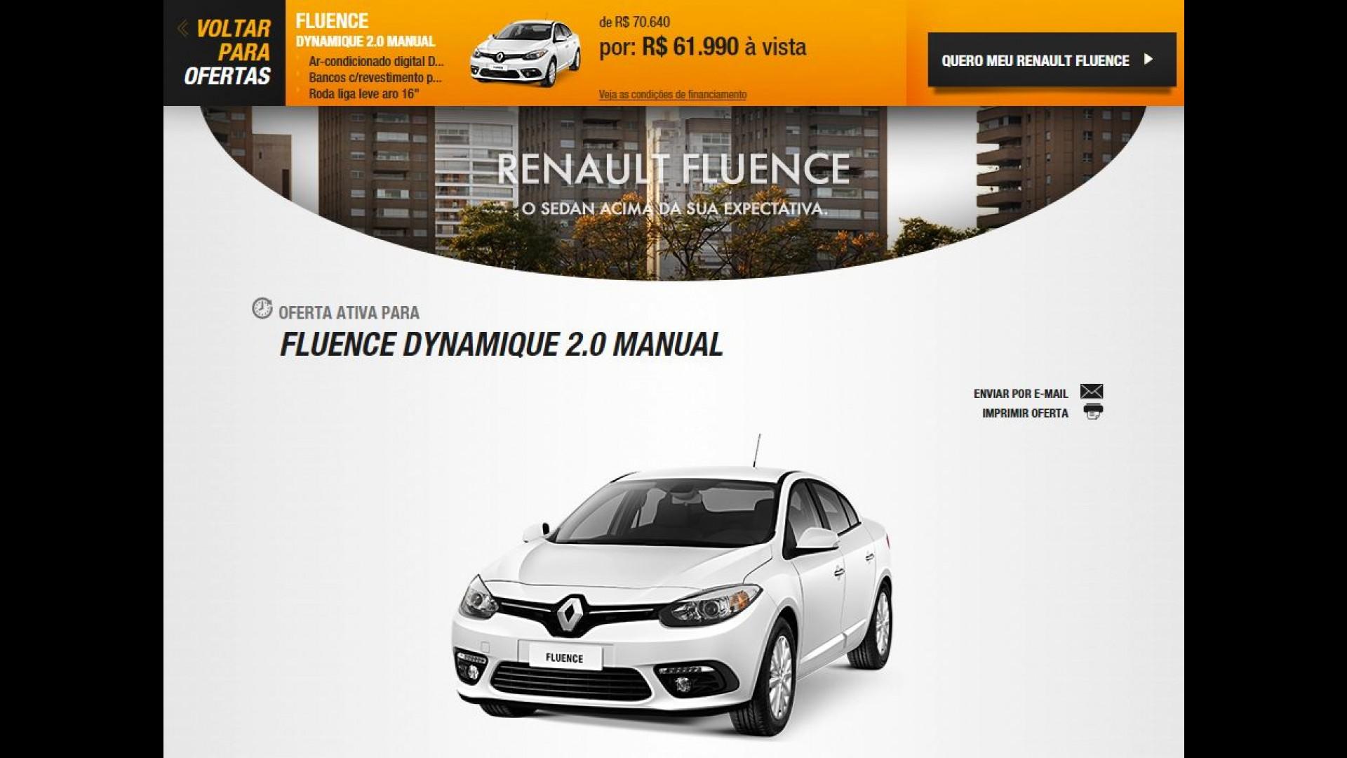 3d5a9423f9b Renault Fluence está sendo oferecido por R$ 61.990 em promoção