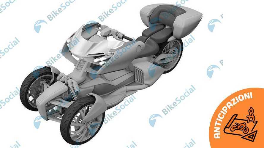 Yamaha brevetta un nuovo triruota ibrido