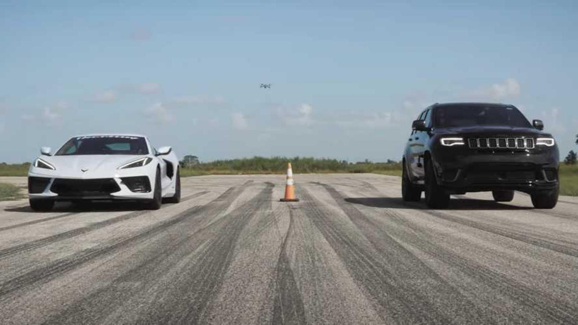 Fairer Fight: Watch Corvette C8 Drag Race Stock Jeep Trackhawk