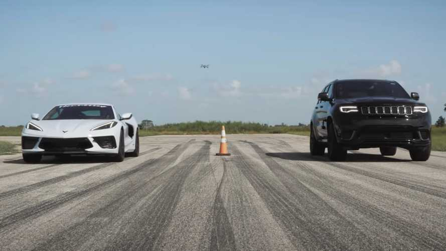 Fairer Fight: Watch Corvette C8 Drag Race Stock Jeep Trackhawk
