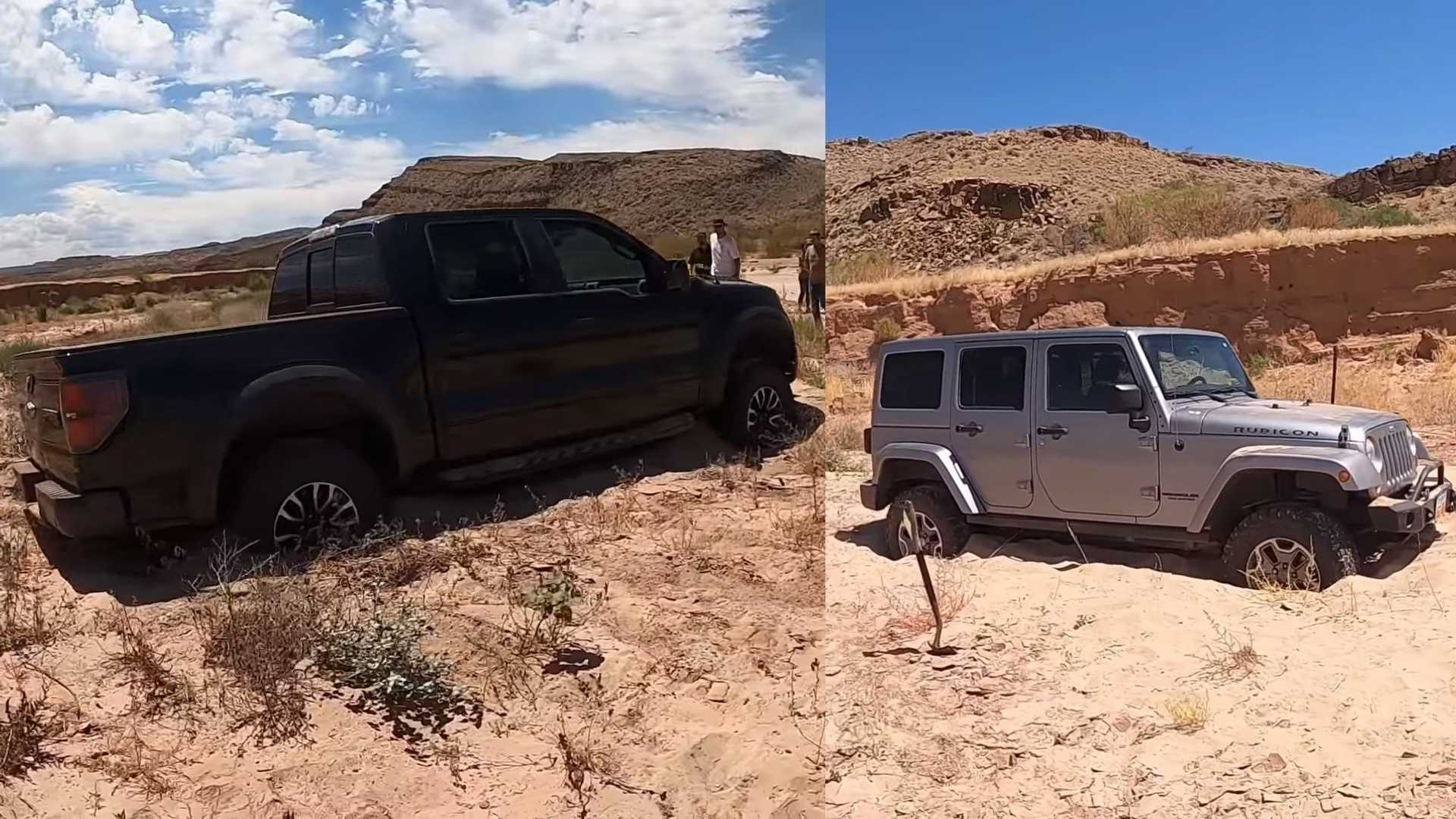 Jeep Wrangler Stuck In Sand After Trying To Pull Out Stranded Raptor - Motor1