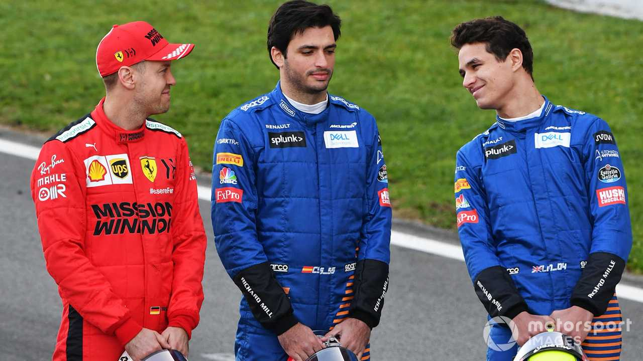 Sebastian Vettel, Carlos Sainz and Lando Norris at Barcelona 2020