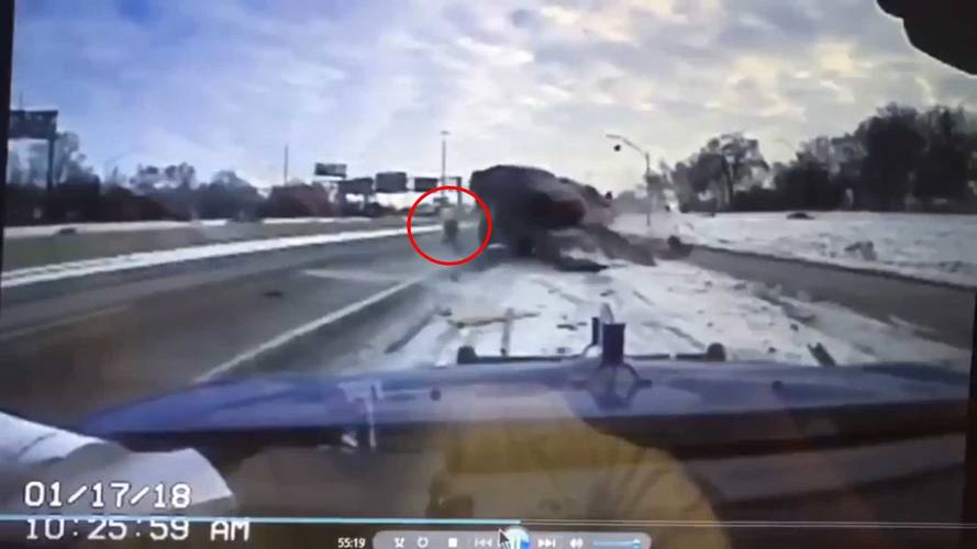 Tow Truck Driver Cheats Death, Dodges Skidding Car In Crazy Crash