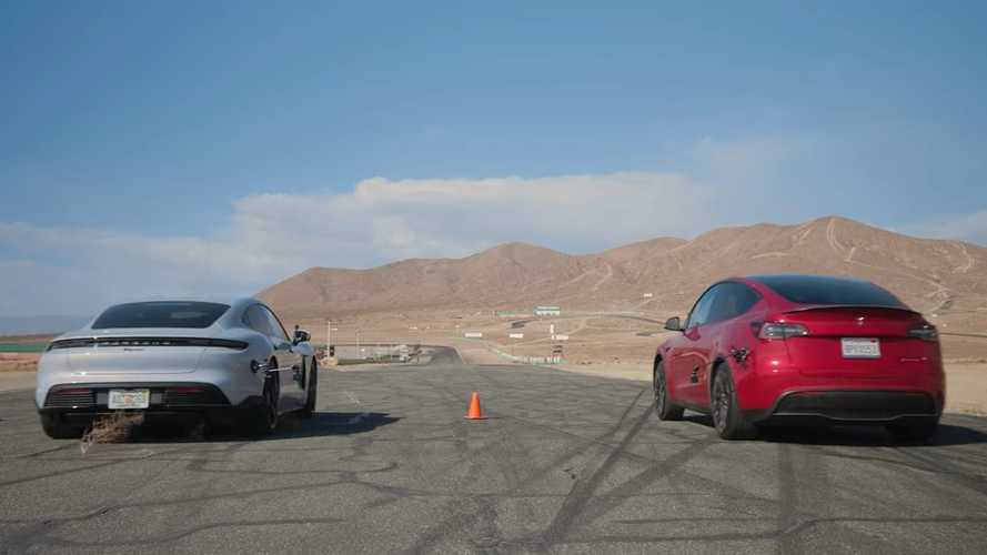 Base Porsche Taycan fights Tesla Model Y in a drag race