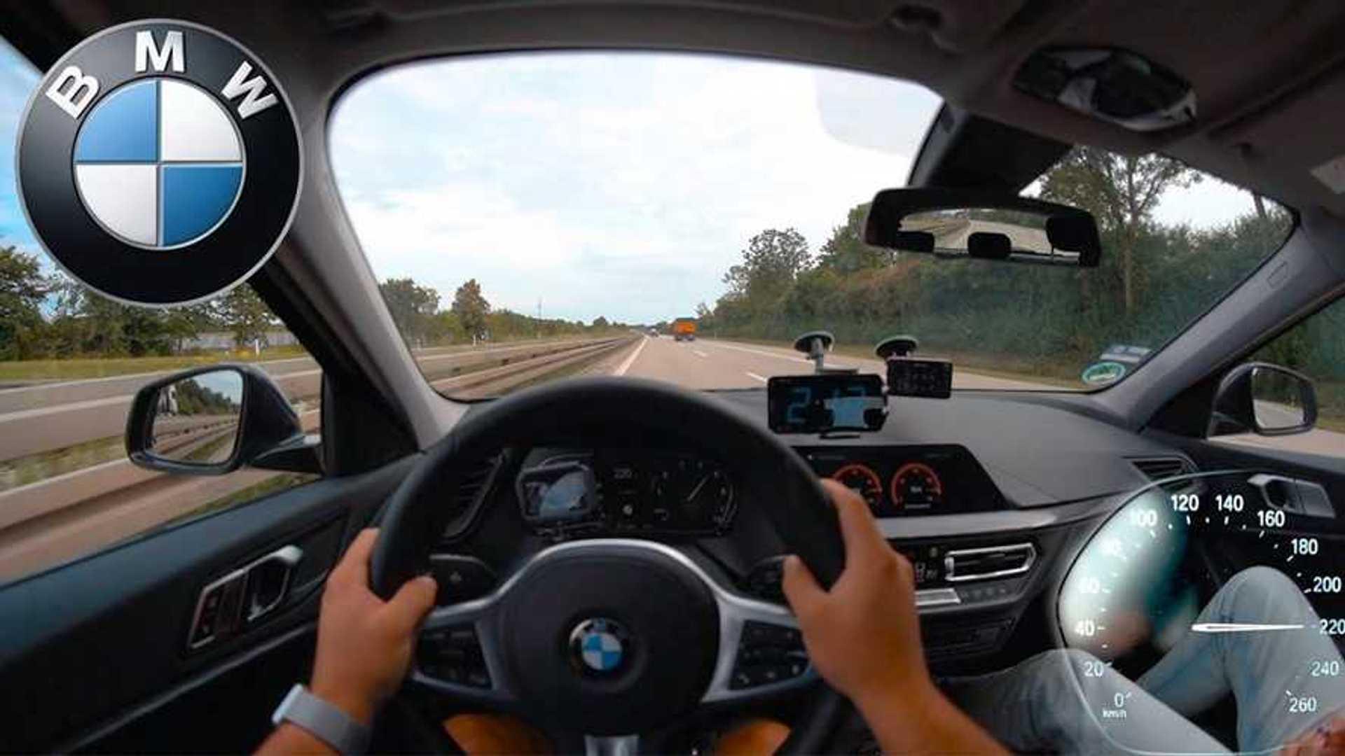 Трехцилиндровый BMW 1 серии покоряет автобан в гонке на максимальной скорости