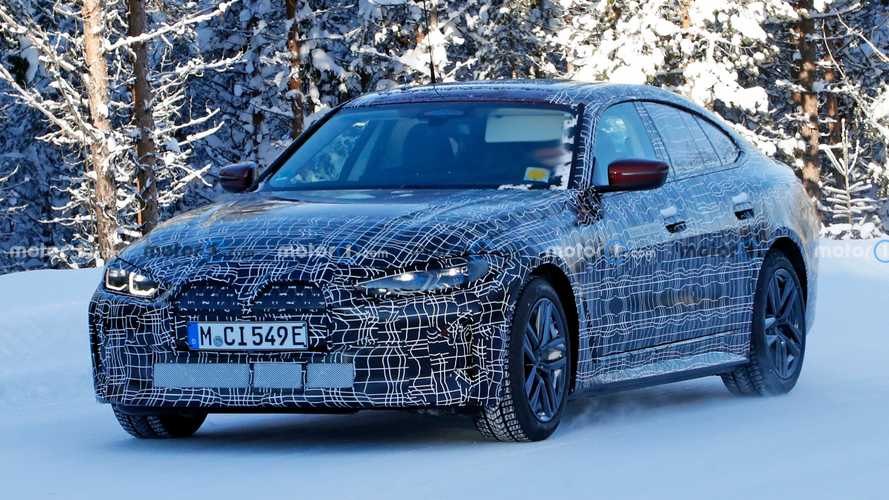 BMW i4 spied with less camouflage showing grille design