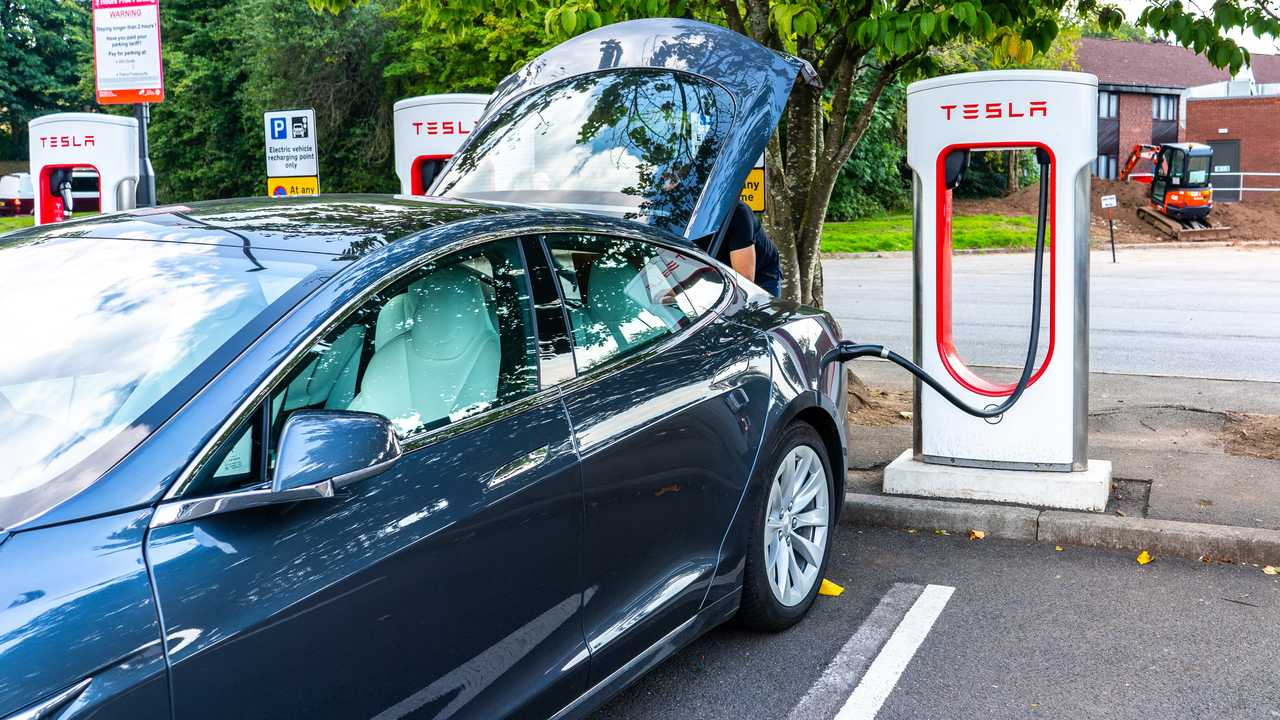 Tesla charging station at the M5 motorway services in Bristol England
