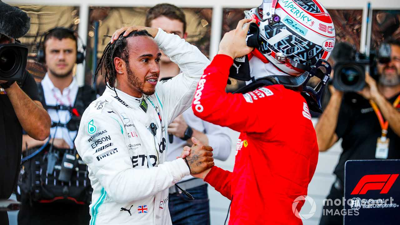 Lewis Hamilton and Charles Leclerc at Russian GP 2019