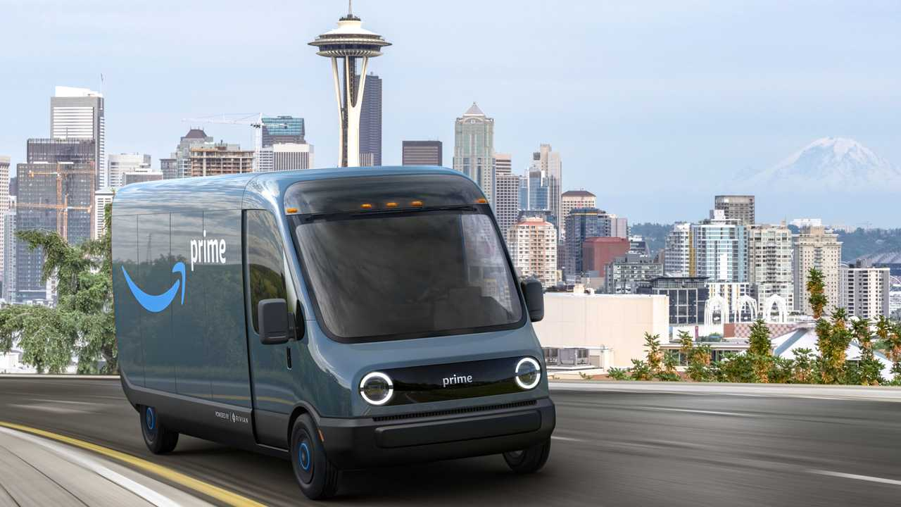 Rivian Amazon electric delivery truck on road