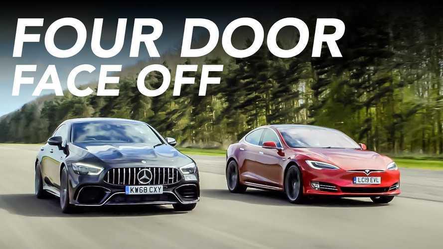 Four-Door Battle: Watch Tesla Model S P100D Take On Mercedes-AMG GT 63