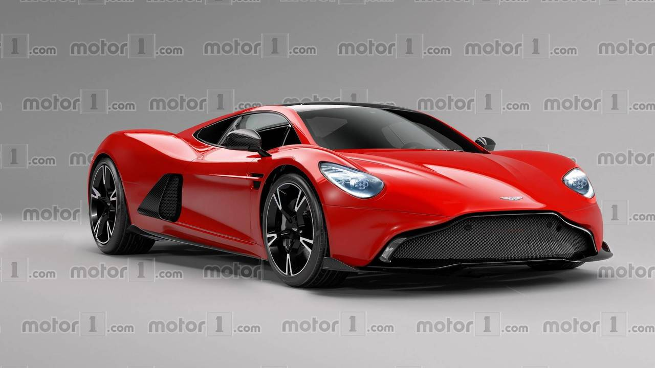 Aston Martin mid-engine sports car rendering