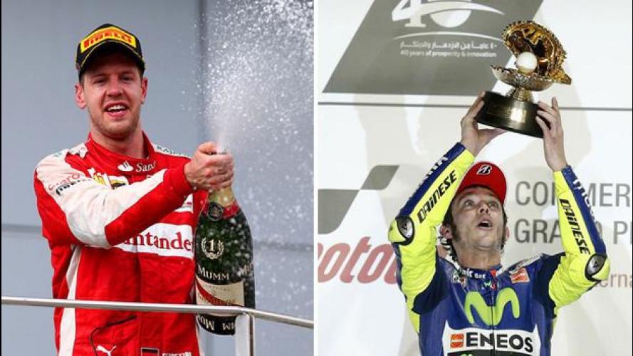 Sebastian Vettel e Valentino Rossi trionfano, Marchionne ed Abarth ringraziano