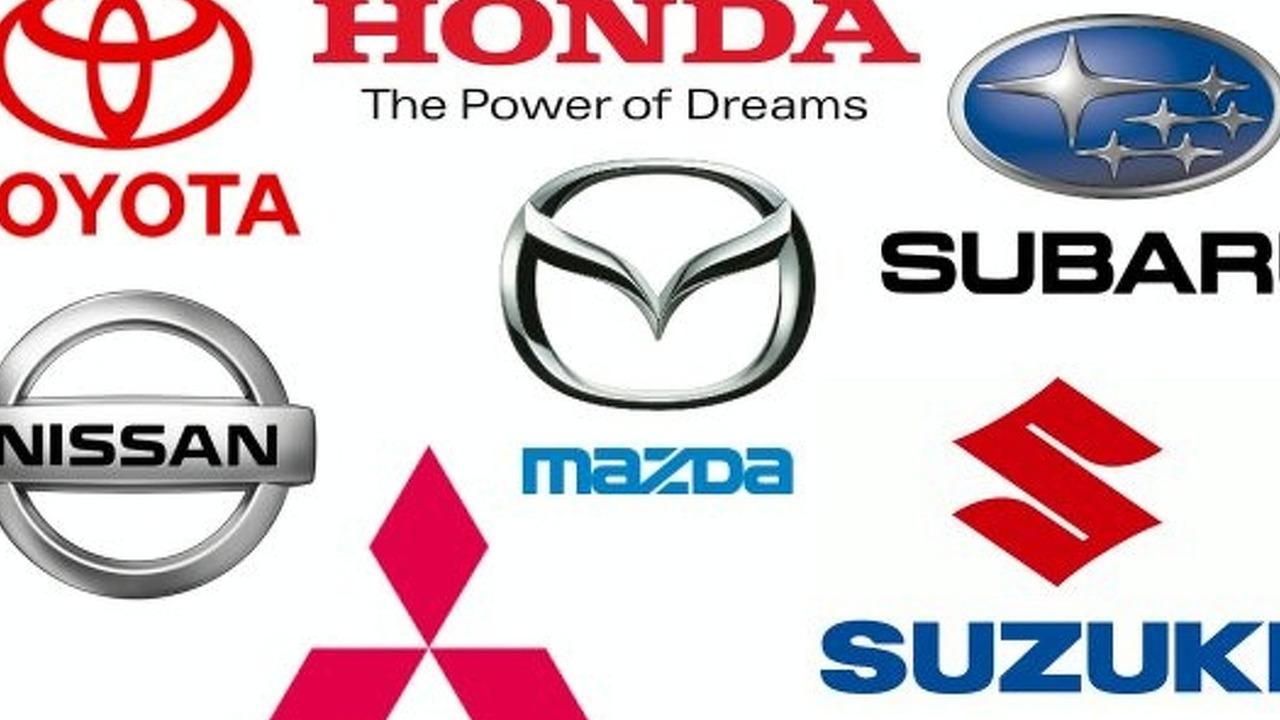 Japanese auto maker logos collage